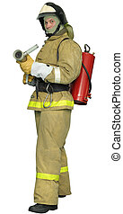Fireman with a  Fog nozzle