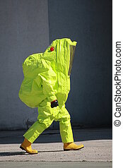 Fireman with a suit for protection from the risk of biological and radioactive pollution