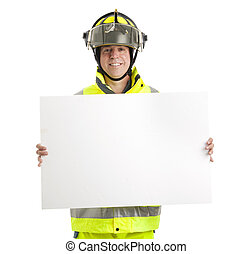 Fireman with Blank Sign