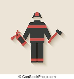 Fireman with extinguisher and axe