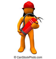 Fireman With Extinguisher - Orange cartoon character as...