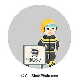 fireman with firefighter station sign in circle background