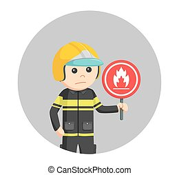 fireman with flammable sign in circle background