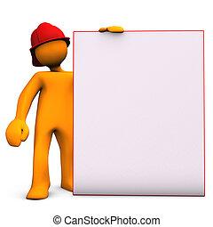 Fireman With Noticeboard - Orange cartoon character as...