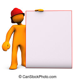 Fireman With Noticeboard - Orange cartoon character as...