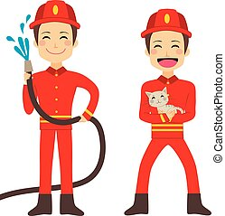 Fireman Working - Happy fireman working holding hose with ...