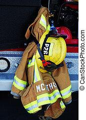 Fireman\\\'s Helmet and Jac - fireman\\\'s helmet and jacket...