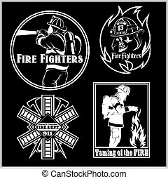 Firemans vector set - t-shirt graphics, fire department, sworn to protect - vector logo on black background.
