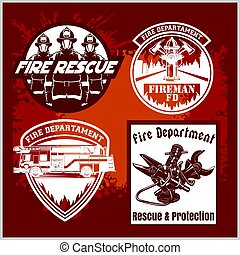 Firemans vector set - t-shirt graphics, fire department, sworn to protect - vector logo on grunge background.