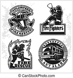 Firemans vector set - t-shirt graphics, fire department, sworn to protect - vector logo on white background.
