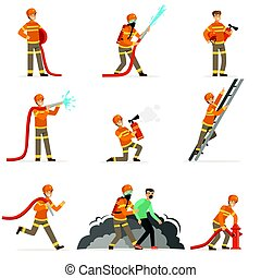 Firemen characters doing their job and saving people set. Firefighter in different situations cartoon vector Illustrations