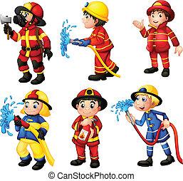 Firemen - Illustration of the firemen on a white background