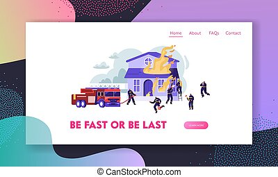 Firemen Fight with Blaze Working as Team to Fight with Big Fire at Burning House, Fire Fighter Truck Spraying Water from Hose Website Landing Page, Web Page. Cartoon Flat Vector Illustration, Banner