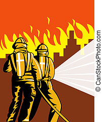 Firemen fighting fire - Illustration of firemen fighting...