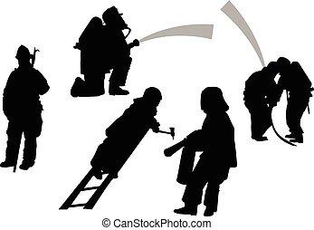 firemen in action set. vector siluettes