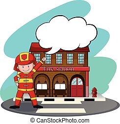 Firemen working at the fire station illustration
