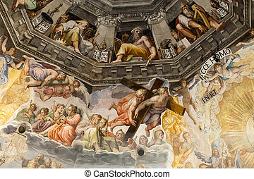 firenze, -, duomo, .the, eltart, judgement., belső, a,...