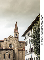 Firenze - View of Santa Maria Novella with vintage colors,...