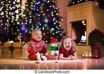 fireplac, véspera, natal familiar