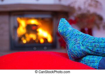fireplace., 毛織りである, 青, フィート, ソックス
