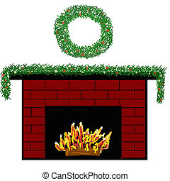 An illustration of a brick fireplace decorated for Christmas with a garland and a wreath.