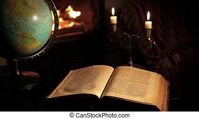 Fireplace and a terrestrial globe