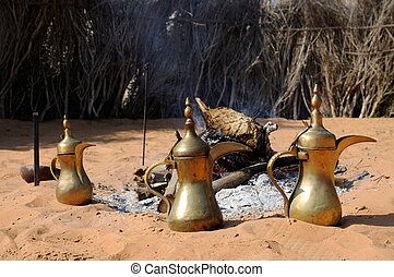 Fireplace and Arabic Coffee Pots in Abu Dhabi, United Arab...