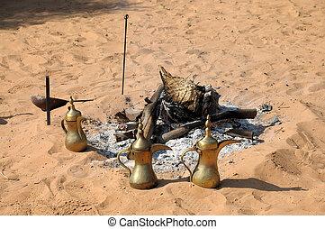 Fireplace and Arabic Coffee Pots