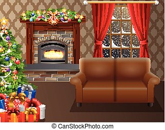 Fireplace and Christmas tree with presents in living room