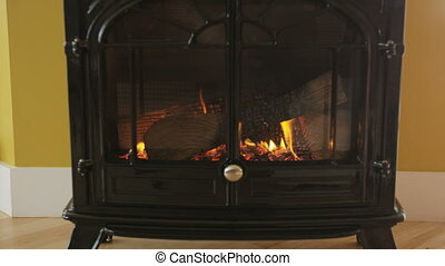 Fireplace Background - Wood Burning Stove In Room Showing ...