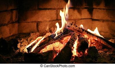 Fireplace. Burning flame.
