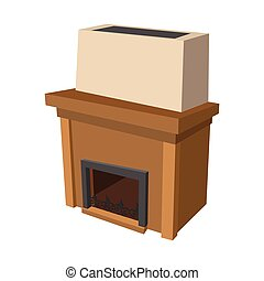 Fireplace cartoon icon