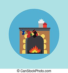 Fireplace Christmas. Vector.