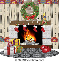 fireplace christmas vector