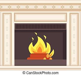 Fireplace Closeup Burning Logs Inside of Stove