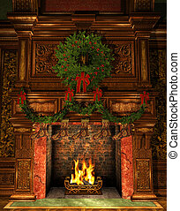 Fireplace decorated for Christmas - 3d Computer Graphics of...