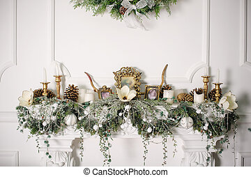 fireplace decorated with Christmas decorations