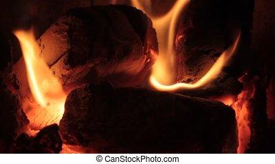 Fireplace fire close up