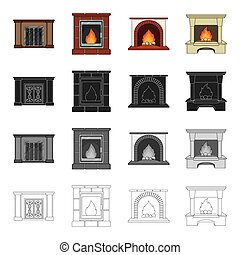 Fireplace, fire, warmth and comfort. Different kinds of fireplace set collection icons in cartoon black monochrome outline style vector symbol stock Isometric illustration web.