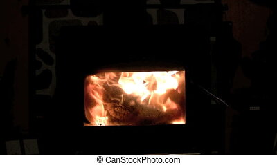 fireplace - footage of flames inside woodburning stove