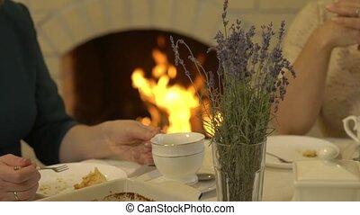 Fireplace Holiday Table - Fireplace holiday table tea party...