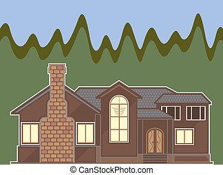 Fireplace house - fireplace house illustration clip-art eps