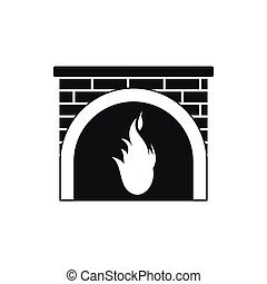 Fireplace icon, black simple style