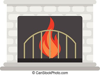 Fireplace icon, cartoon style