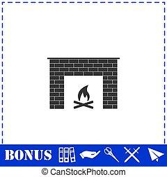 Fireplace icon flat