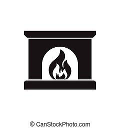 Fireplace icon, silhouette design vector