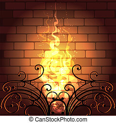 Fireplace - Illustration of flame in a fireplace drawn in...