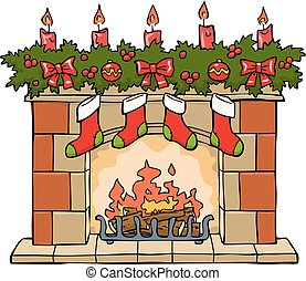 Fireplace in Christmas on a white background vector