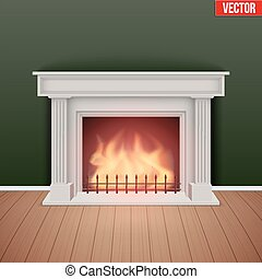 Fireplace in house cozy room. Realistic style design. Vector Illustration.