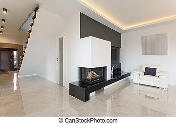 Fireplace in luxury detached house - Horizontal view of ...